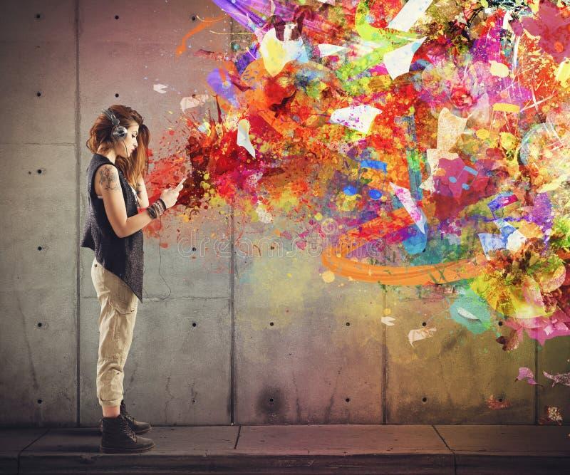 Muzyczny colour styl obrazy royalty free