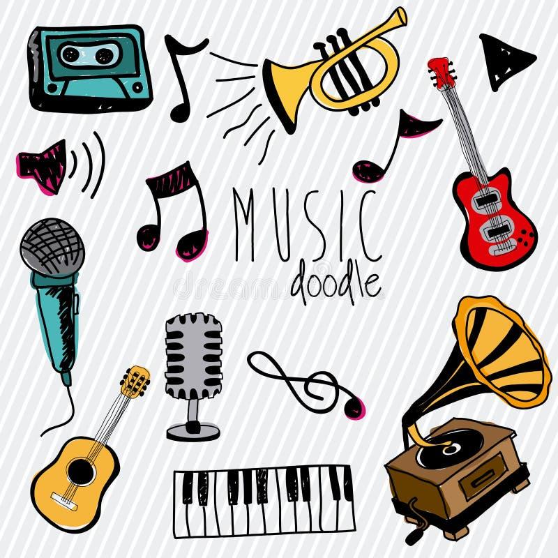 Muzyczny doddle ilustracja wektor