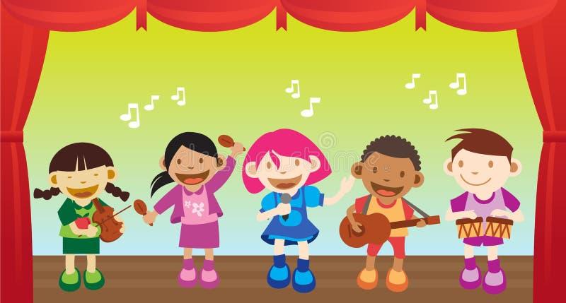 muzyczny dzieciaka spełnianie ilustracja wektor