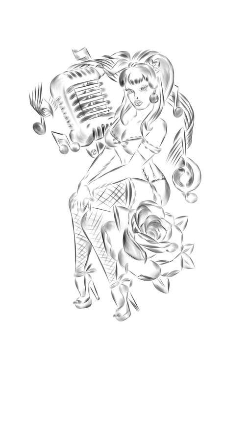 Muzyczny dziewczyna projekt royalty ilustracja