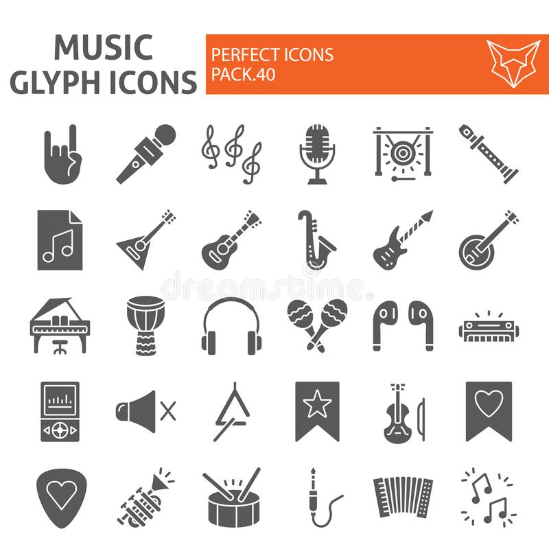 Muzyczny glif ikony set, instrumentów muzycznych symbole kolekcja, wektor kreśli, logo ilustracje, audio wyposażenia znaki royalty ilustracja