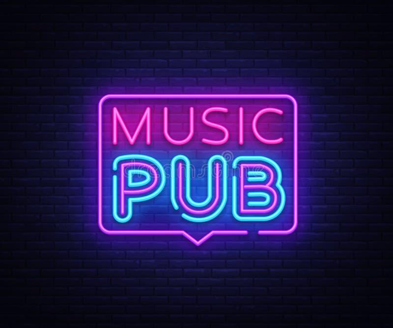 Muzyczny Karczemny neonowego znaka wektor Muzyka Na Żywo projekta szablonu neonowy znak, lekki sztandar, neonowy signboard, śródn royalty ilustracja
