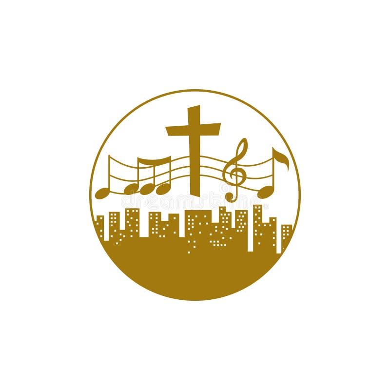 Muzyczny logo Chrześcijańscy symbole Ludzie wszystkie narodowości i narody śpiewają piosenkę cześć bóg ilustracja wektor
