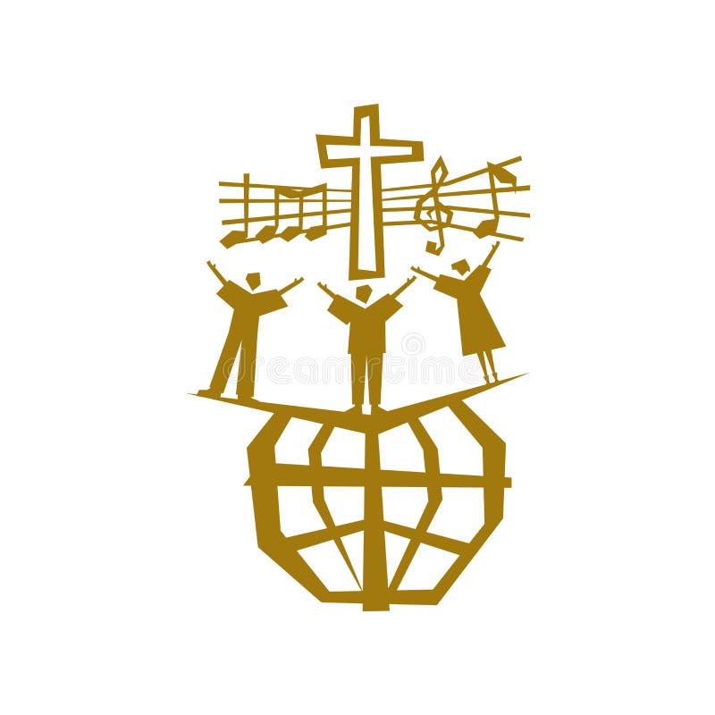 Muzyczny logo Chrześcijańscy symbole Ludzie wszystkie narodowości i narody śpiewają piosenkę cześć bóg royalty ilustracja