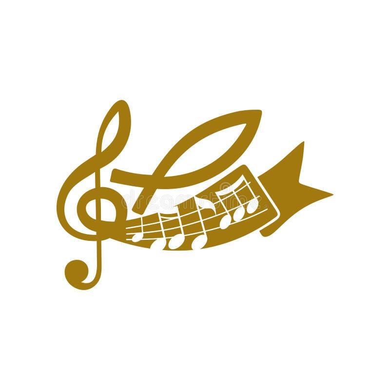 Muzyczny logo Chrześcijańscy symbole Notatki, treble clef i ryba, - symbol Jezus royalty ilustracja