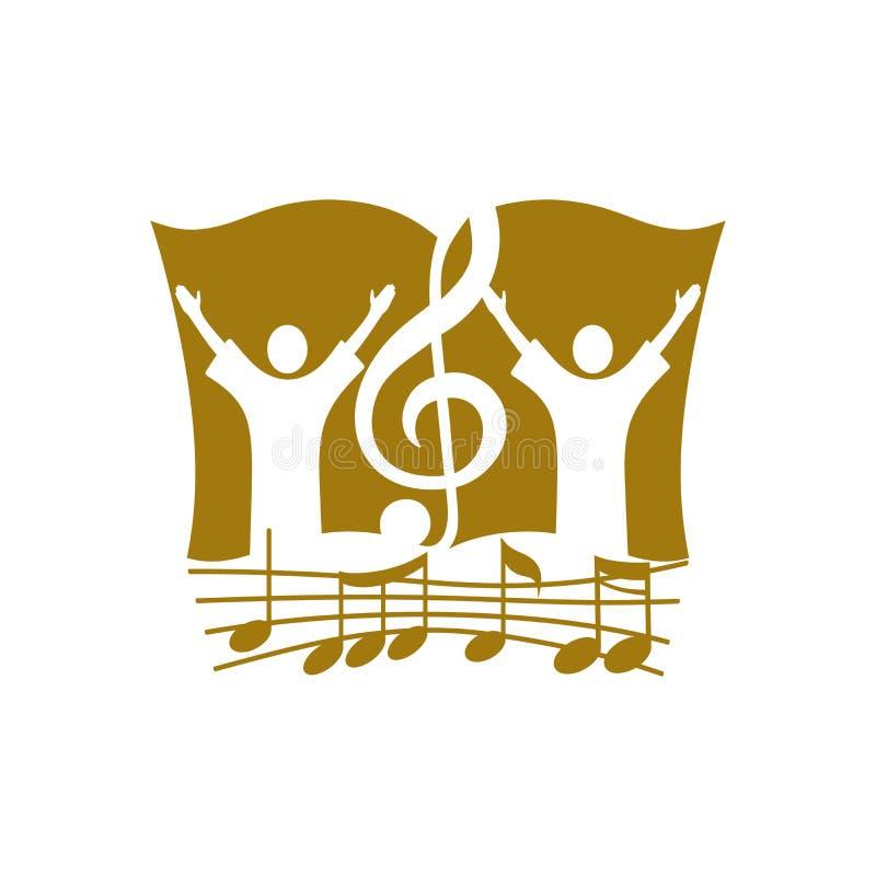 Muzyczny logo Chrześcijańscy symbole Uwielbiać bóg, ludzi i treble clef na tle biblia, royalty ilustracja