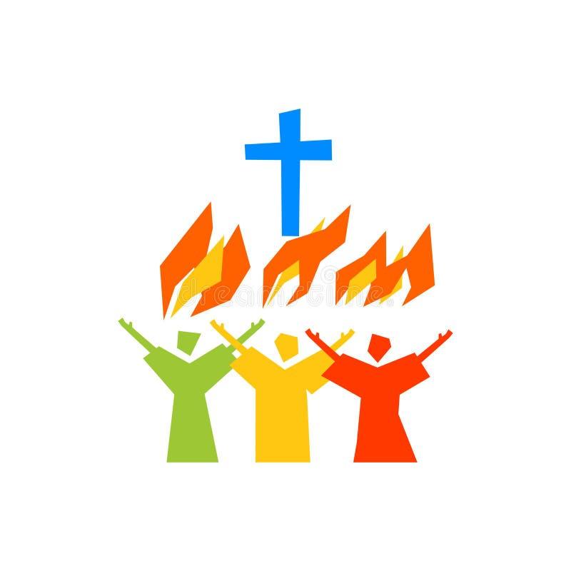Muzyczny logo Chrześcijańscy symbole Wierzący uwielbiają jezus chrystus, śpiewają z ogieniem Święty duch royalty ilustracja