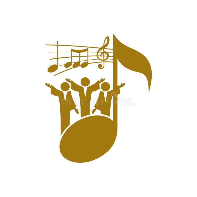 Muzyczny logo Chrześcijańscy symbole Wierzący w Jezus śpiewają piosenkę apoteozowanie władyka royalty ilustracja