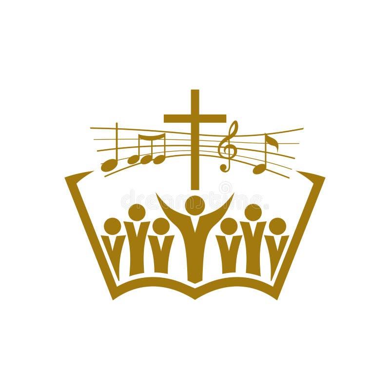 Muzyczny logo Chrześcijańscy symbole Wierzący w Jezus śpiewają piosenkę apoteozowanie władyka ilustracji