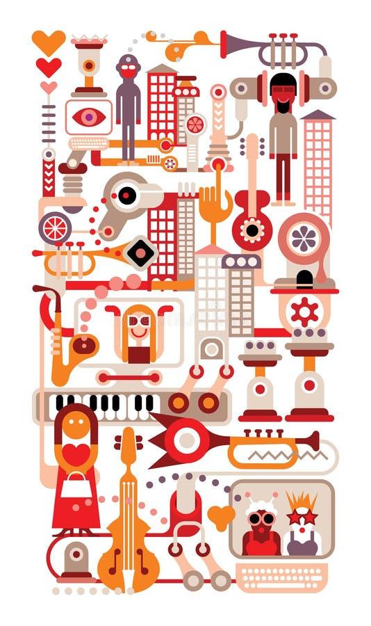 Muzyczny miasto ilustracji
