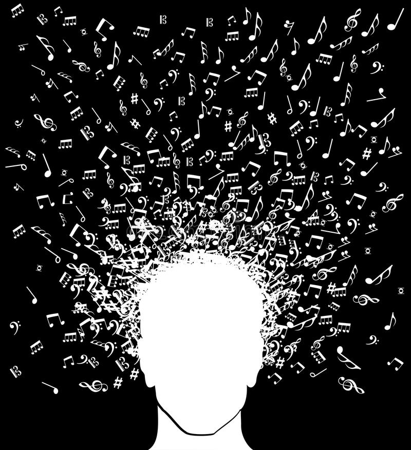 Muzyczny notatka mężczyzna głowy pluśnięcie ilustracji