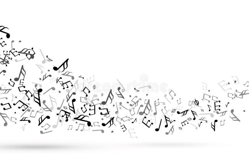 Muzyczny notatka zawijas Fala z notatki klepki klucza muzykalną harmonią, symfoni melodii muzyki personelu treble clef bieżący we ilustracja wektor