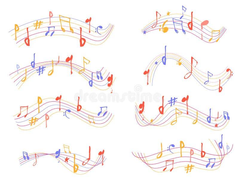 Muzyczny notatka znaka kształt ustawia w grunge secie Ręka rysujący kolorowy melodia symbolu nakreślenia silhuette dla plakatów royalty ilustracja