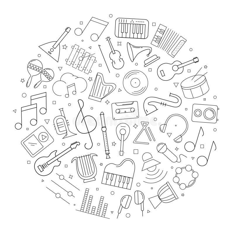 Muzyczny okręgu tło od kreskowej ikony liniowy wektoru wzór ilustracja wektor