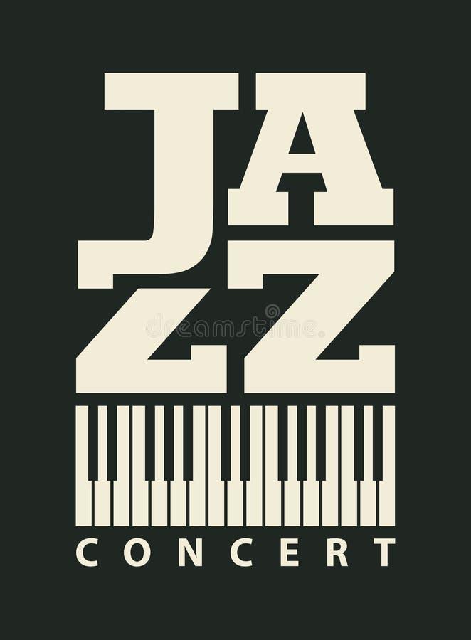 Muzyczny plakat dla jazzowego koncerta z fortepianowymi kluczami ilustracja wektor