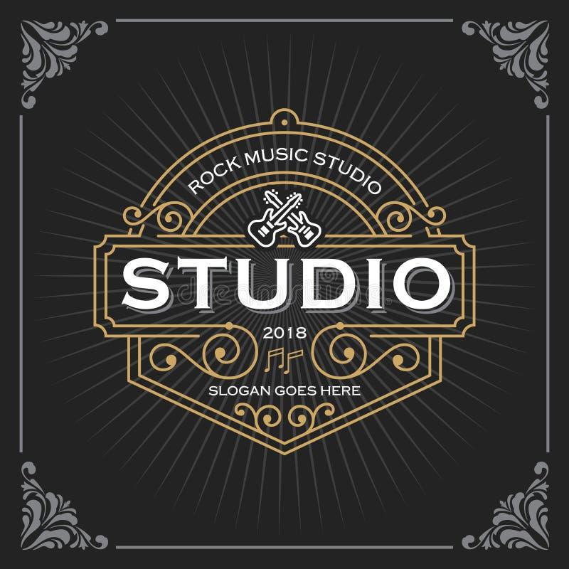 Muzyczny pracowniany logo Rocznika sztandaru szablonu Luksusowy projekt dla etykietki, rama, produkt etykietki Retro emblemata pr ilustracja wektor