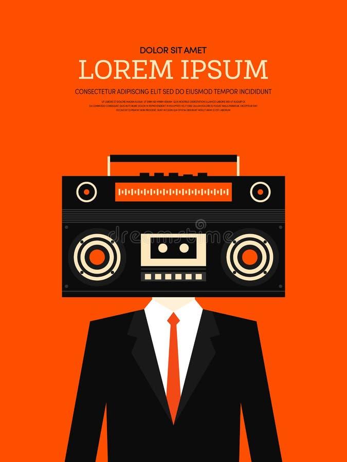 Muzyczny retro rocznika plakata tło ilustracji