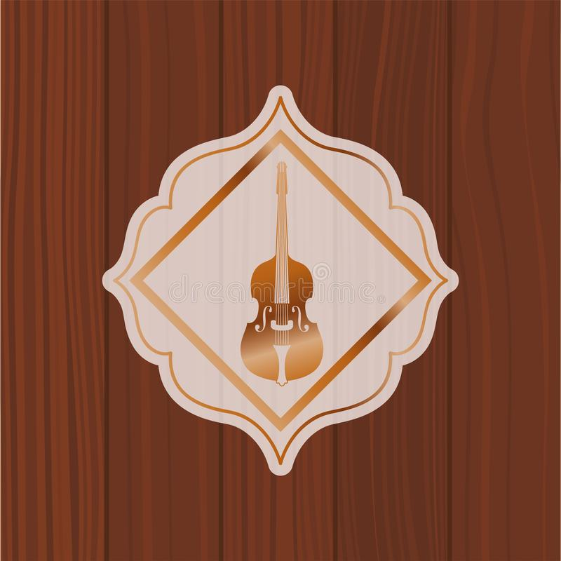 Muzyczny skrzypki instrument w ramie z drewnianym tłem ilustracji