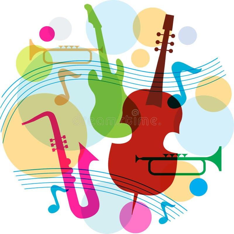 Muzyczny szablon z notatkami, gitarą i saksofonem ilustracja wektor
