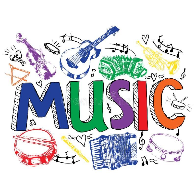 Muzyczny tło koloru nakreślenie ilustracji