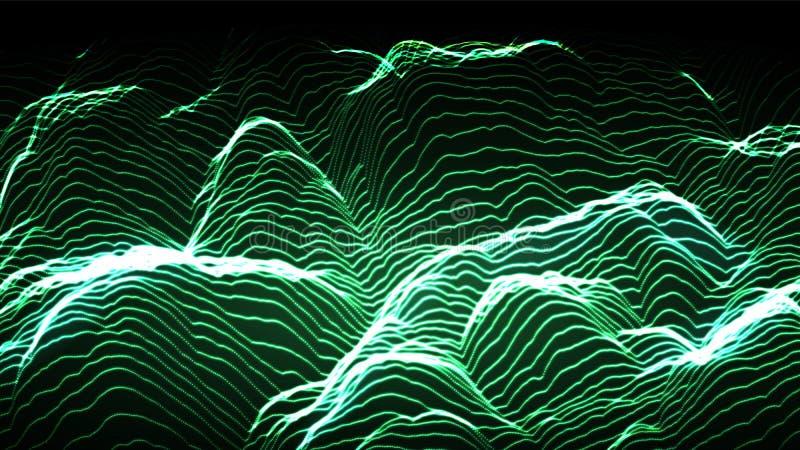 Muzyczny tło wektor Cyfrowego Duży przepływ Dj tło ilustracja 3 d ilustracja wektor