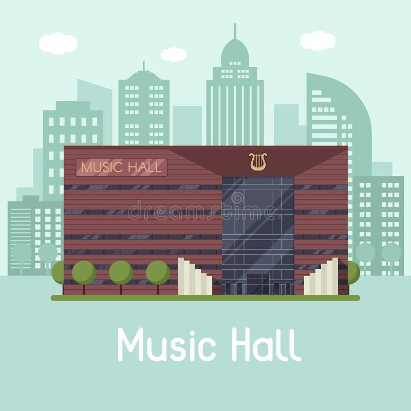 Muzyczny urzędu miasta krajobraz ilustracja wektor