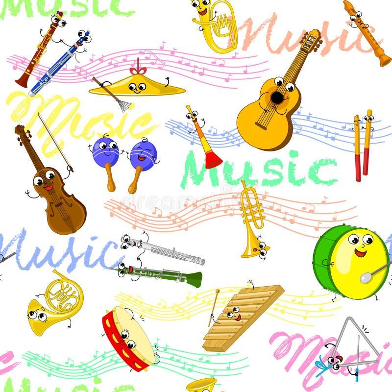 Muzycznych instrumentów bezszwowa tapeta ilustracja wektor