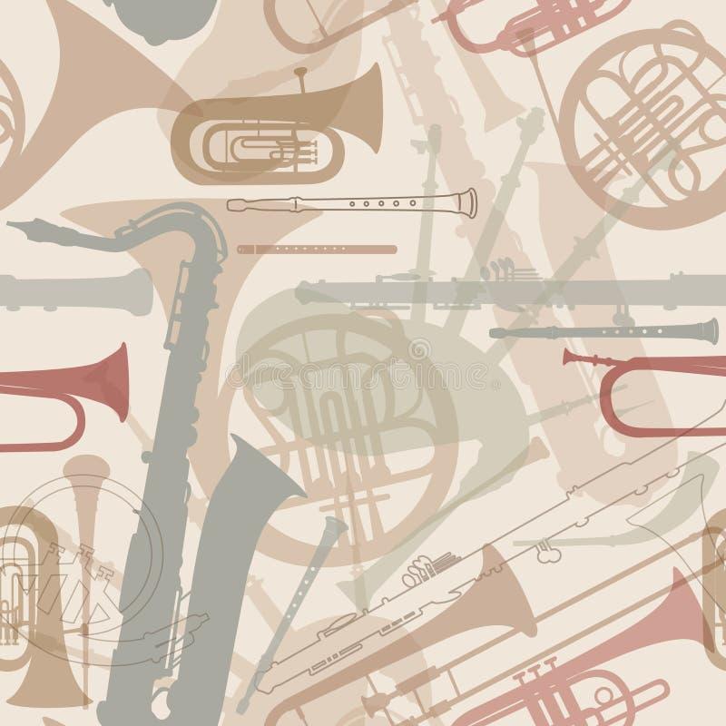 Muzycznych instrumentów bezszwowa tekstura. ilustracji