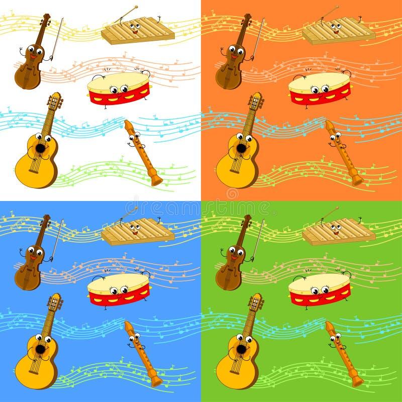 Muzycznych instrumentów bezszwowy wzór ilustracji