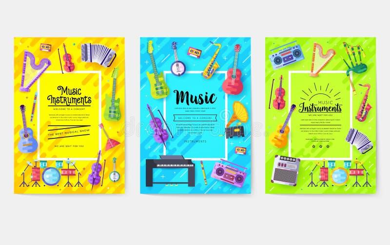 Muzycznych instrumentów broszurki wektorowe karty ustawiać Audio wytłacza wzory szablon flyear, magazyny, plakat, książkowa pokry royalty ilustracja