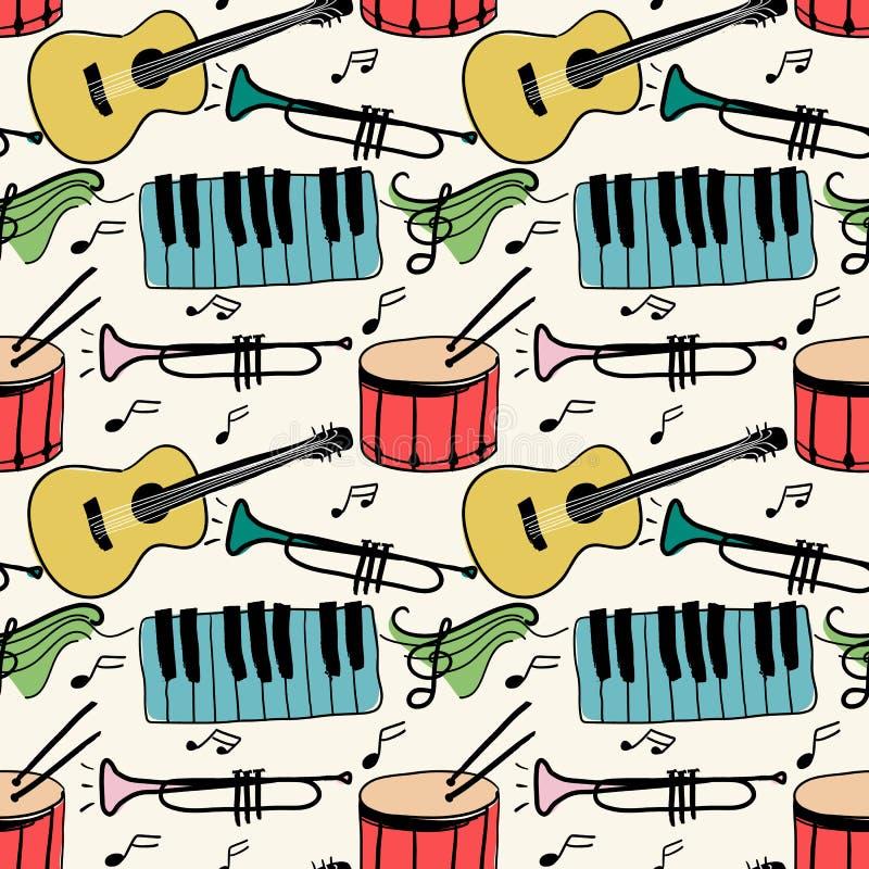 Muzycznych instrumentów doodle stylu bezszwowy wzór ilustracji