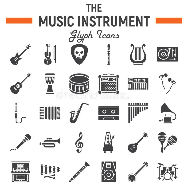 Muzycznych instrumentów glifu ikony set, audio symbole ilustracji