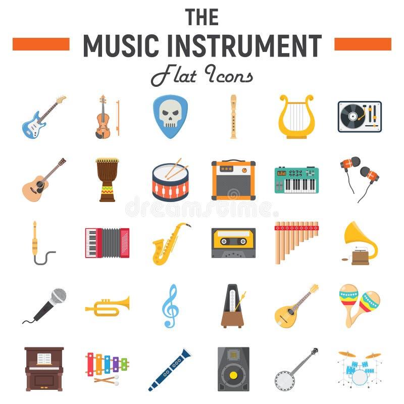 Muzycznych instrumentów ikony płaski set, audio symbole royalty ilustracja