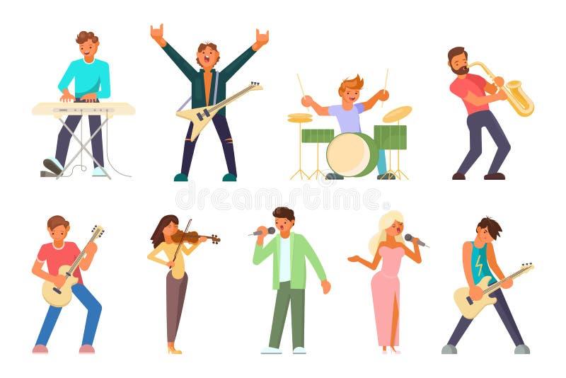 Muzyków i piosenkarzów ikony wektorowy płaski set royalty ilustracja