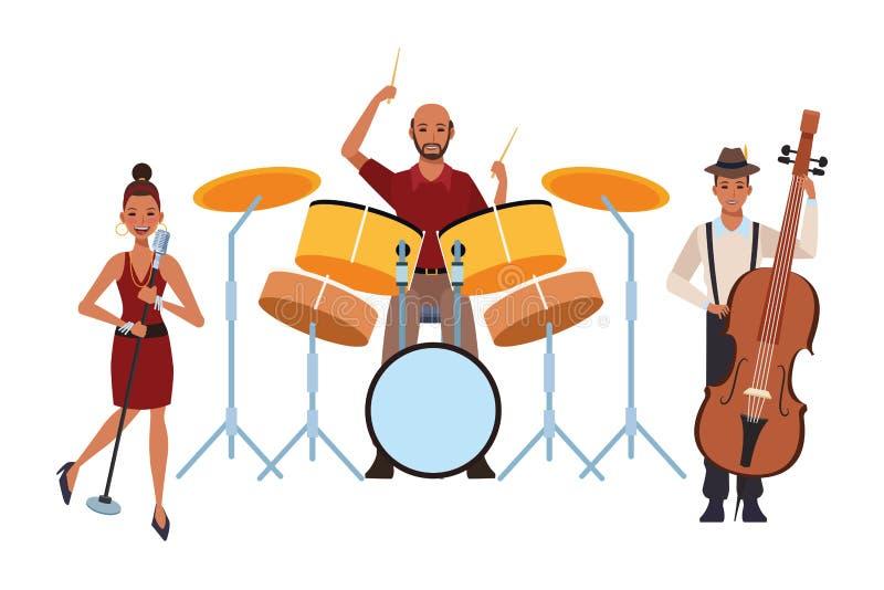 Muzyk bawić się bębenu śpiew i bas ilustracja wektor