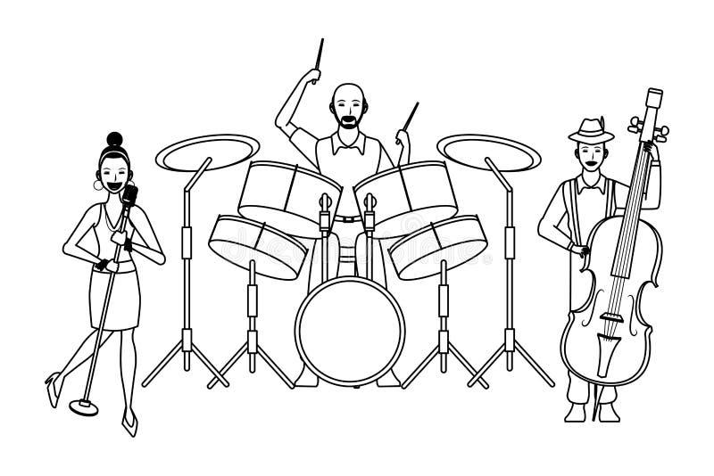 Muzyk bawić się bębenu bas i śpiew czarny i biały royalty ilustracja
