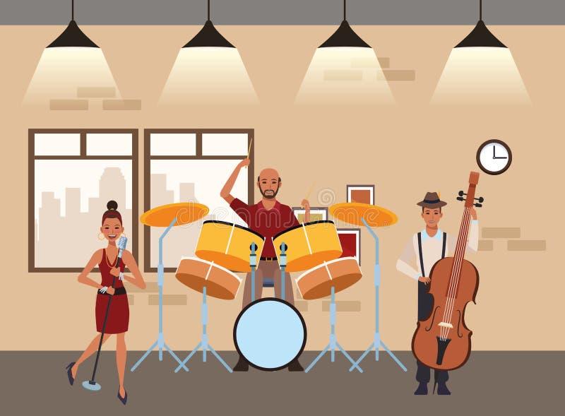 Muzyk bawi? si? b?benu ?piew i bas royalty ilustracja