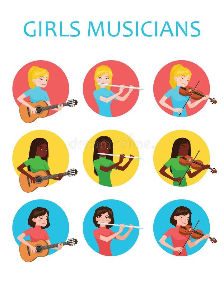 Muzyk dziewczyny inspirują bawić się różnych instrumenty muzycznych Skrzypaczka, flecista, gitarzysta Wektorowa ilustracja wewnąt ilustracja wektor