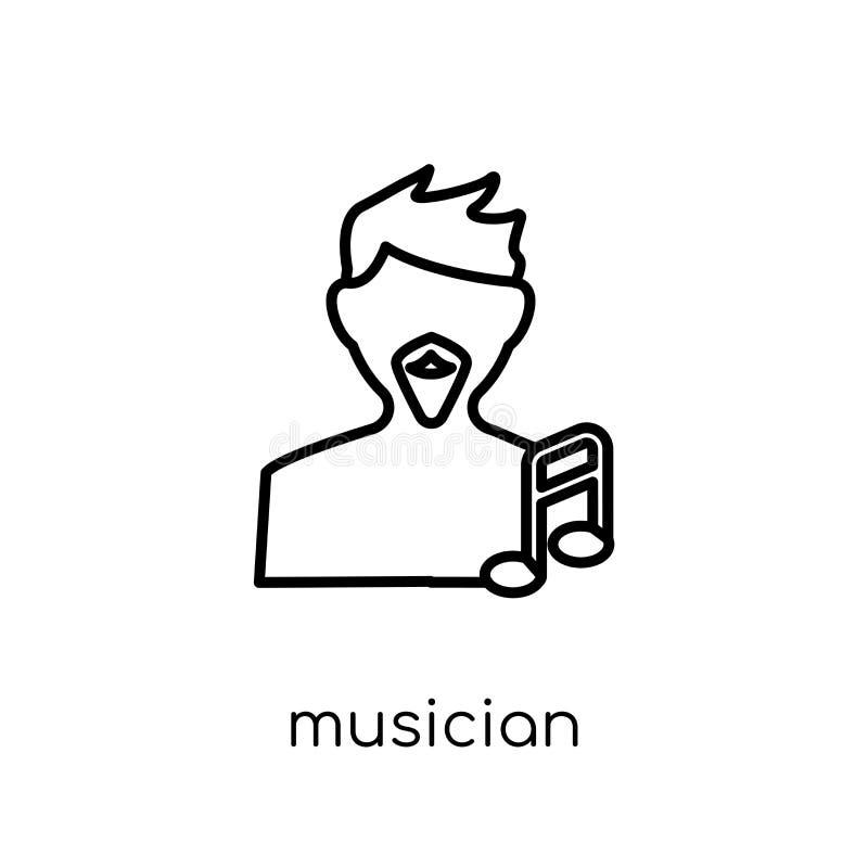 muzyk ikona Modna nowożytna płaska liniowa wektorowa muzyk ikona dalej ilustracja wektor