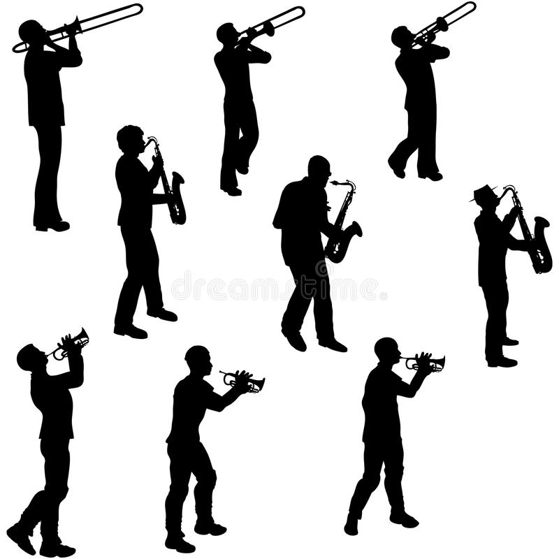 muzyk mosiężne sylwetki royalty ilustracja