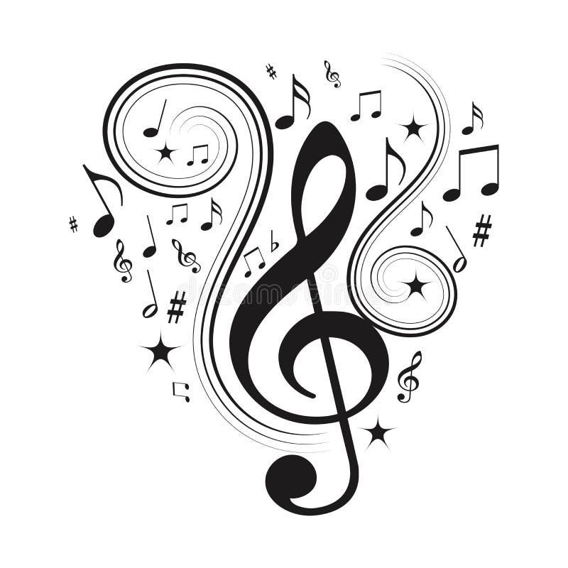Muzyk notatki, muzykalne notatki z gwiazdami ilustracji