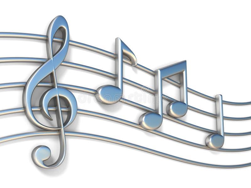 Muzyk notatki na pięcioliniowych liniach 3D ilustracja wektor