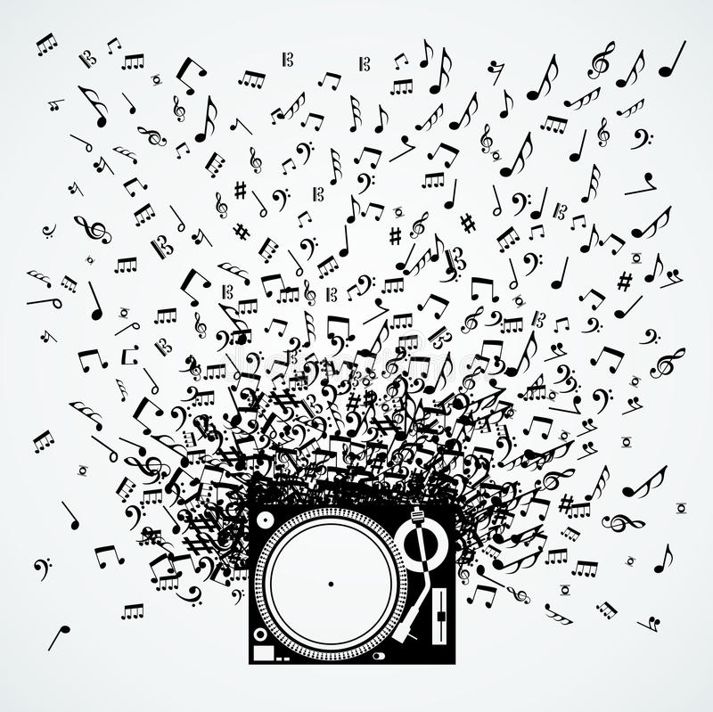 Muzyk notatki od turntable odizolowywającego projekta ilustracja wektor