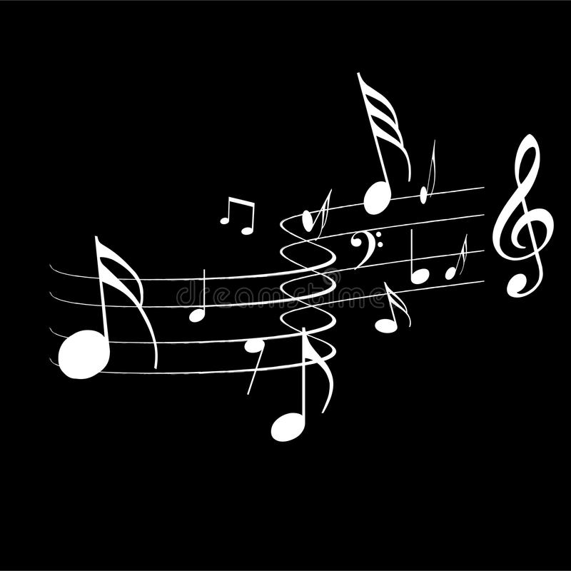 Muzyk notatki odizolowywać w czarnym koloru tle royalty ilustracja