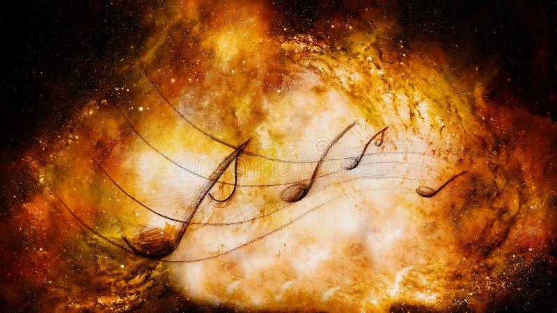 Muzyk notatki w przestrzeni kolor t?a abstrakcyjne poj?cia gitary elektrycznej ilustraci muzyka royalty ilustracja