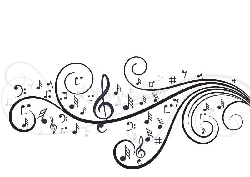 Muzyk notatki z fala w bielu obrazy royalty free