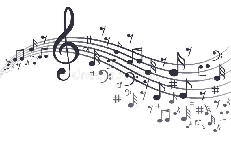 Muzyk notatki z fala w bielu ilustracja wektor