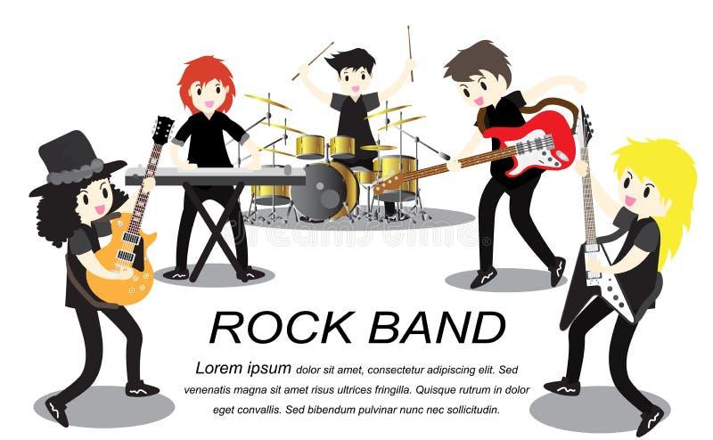 Muzyk rockowa grupa, sztuki gitara, piosenkarz, gitarzysta, dobosz, solo gitarzysta, basista, keyboardzisty zespół rockowy równie royalty ilustracja