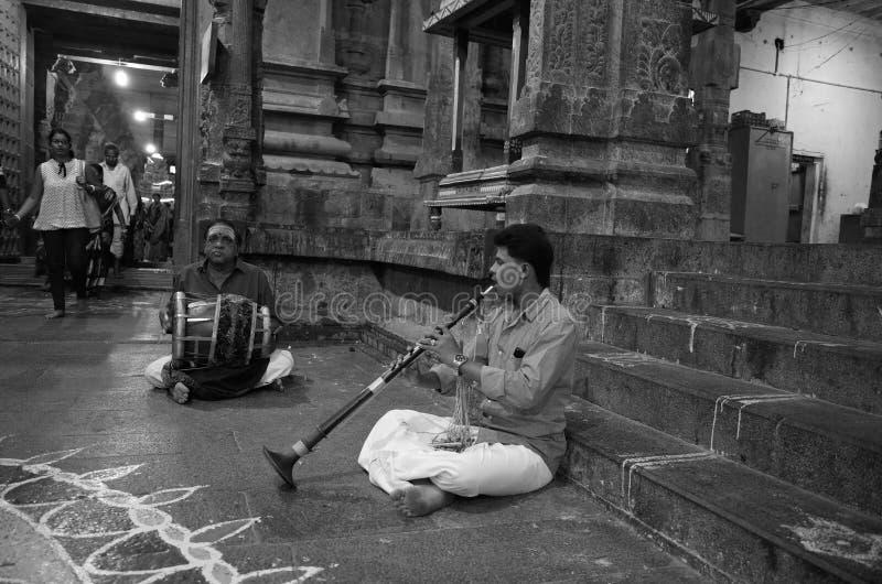 Muzyk w Ekambrareswarar świątyni zdjęcia stock