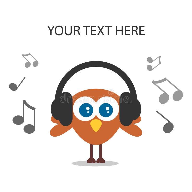 Muzyka śliczny ptasi słuchanie ilustracji